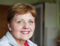 Happy senior woman at home Stock Photos