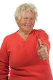 Happy senior woman make OK gesture Royalty Free Stock Images