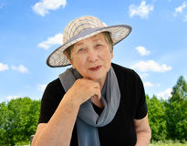Happy senior woman outdoors Stock Photos