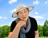 Happy senior woman outdoors Stock Photos