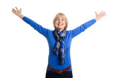 Happy senior woman posing on white background Stock Image