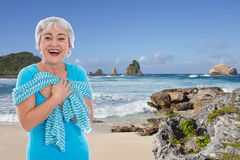 Happy senior woman on seashore - Holiday, pension Stock Photo