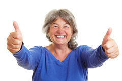 Happy senior woman showing thumbs Royalty Free Stock Photo