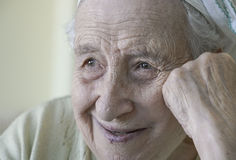 Happy senior woman smiling Royalty Free Stock Images
