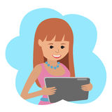 Happy senior woman with tablet in hands. Stock Photography