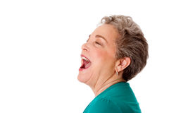 Happy senior woman talk screaming yelling. Happy senior woman talking screaming yelling singing with mouth open, isolated Stock Image
