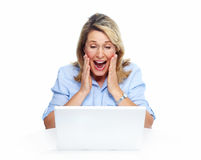 Happy Senior Woman With Laptop Computer. Royalty Free Stock Images