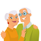 Happy seniors. Hugging on white background Royalty Free Stock Photography
