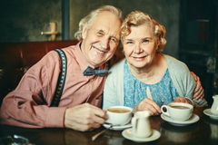 Happy seniors in cafe Stock Image