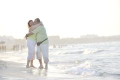 Happy seniors couple  on beach Royalty Free Stock Photo