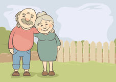 Happy seniors couple. Vector illustration of grandparents on the background of the rural landscape Royalty Free Stock Image