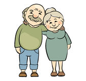 Happy seniors couple. Vector illustration of grandparents happy together Stock Photography