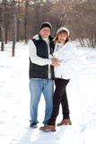 Happy seniors couple in winter park Stock Images