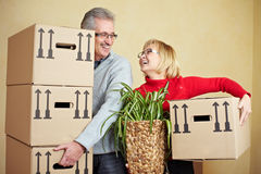 Happy seniors moving Royalty Free Stock Photography