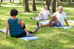Happy seniors working out in a park Stock Photography