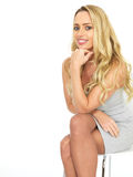 Happy Sensual Young Business Woman Wearing a Mini Dress Stock Photography