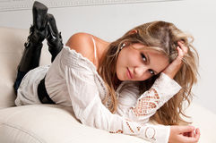 Happy and sensual young girl Royalty Free Stock Image