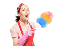Happy service cleaning woman Royalty Free Stock Images