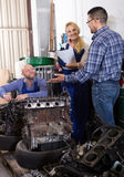 Happy service crew and driver Royalty Free Stock Photography