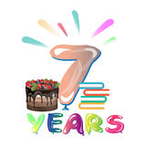 Happy seventh birthday anniversary. Vector illustration card Royalty Free Stock Image