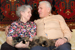 Happy seventy year old couple with cat. At home Royalty Free Stock Images