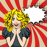 Happy sexy blonde hair girl pop art Royalty Free Stock Photography