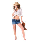 Happy Sexy Cowgirl Stock Photo
