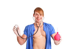Happy sexy doctor with stethoscope and enema Royalty Free Stock Photos