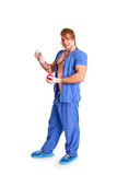 Happy sexy doctor with stethoscope and enema Royalty Free Stock Image