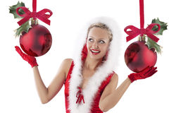 Happy and santa claus girl Stock Image