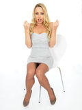 Happy Sexy Surprised Shocked Young Business Woman Stock Images