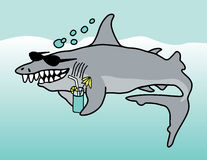 Happy Shark. A cartoon illustration of a grinning shark wearing sunglasses and holding a tropical drink Royalty Free Stock Photo