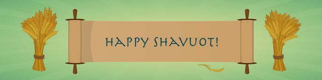 Happy Shavuot Jewish holiday greeting banner. Scroll and sheaves stock image