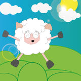 Happy sheep. Cartoon style painted sheep rejoices vyglyanuvshemu sun from behind the clouds Royalty Free Stock Photography