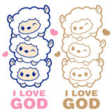 Happy sheep character. Angel Character Design Series. Stock Image
