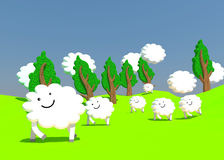 Happy sheep farm Stock Image