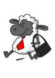 Happy sheep going to work stock illustration
