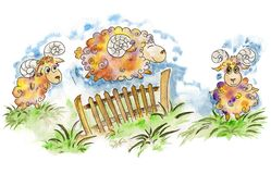 Happy sheep jumping over the fence. vector illustration