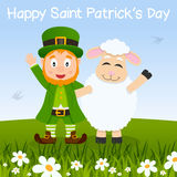 Happy Sheep & Leprechaun in a Meadow Stock Photos
