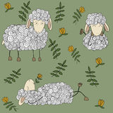 Happy sheep seamless background Royalty Free Stock Photography