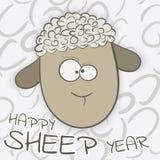 Happy Sheep Year 2015. Greeting card.2015 Year of Sheep. Vector Cartoon royalty free illustration