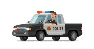 Happy sheriff rides in car. Police pickup truck. Cartoon vector illustration Royalty Free Stock Images