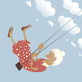 A happy shildish granny on the swing Stock Images