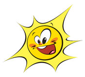 Happy sun (black outlines) Stock Images