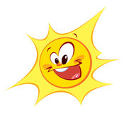 Happy sun (coloured outlines) vector illustration