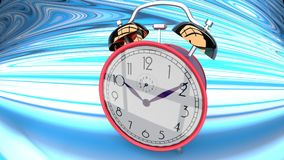Wonderland alarm clock on a blue curved background. Happy, shiny, reflective, red alarm clock on a blue, curved and bent checker plane, symbolizes time dilation Royalty Free Stock Photo
