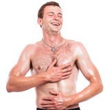 Happy shirtless man Royalty Free Stock Image