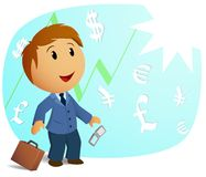 Happy shocked businessman with throw case. And cell phone on currency background. Vector illustration Stock Photos