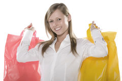 Happy Shop Lucky. Beautiful young blond woman nd gleefully shopping Royalty Free Stock Photography