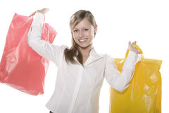 Happy Shop Lucky. Beautiful young blond woman nd gleefully shopping Stock Image